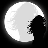 Silhouette. Of a woman in the moonlight Royalty Free Stock Photo