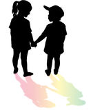 Silhouette. Of children whith rainbow Royalty Free Stock Images