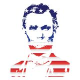 Silhouette of Abraham Lincoln From the Texture of the National Flag of the United States. EPS10 stock illustration