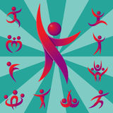Silhouette abstract people performance character logo human figure pose vector illustration. Silhouette of abstract people icon and performance character logo Royalty Free Stock Images