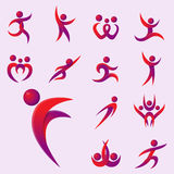 Silhouette abstract people performance character logo human figure pose vector illustration. Silhouette of abstract people icon and performance character logo Stock Photos