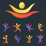Silhouette abstract people performance character logo human figure pose vector illustration. Silhouette of abstract people icon and performance character logo Stock Image