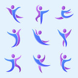 Silhouette abstract people performance character logo human figure pose vector illustration. Silhouette of abstract people icon and performance character logo Stock Photography