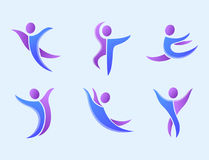 Silhouette abstract people performance character logo human figure pose vector illustration. Silhouette of abstract people icon and performance character logo Stock Photo