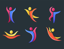 Silhouette abstract people performance character logo human figure pose vector illustration. Silhouette of abstract people icon and performance character logo Royalty Free Stock Photography