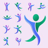 Silhouette abstract people performance character logo human figure pose vector illustration. Silhouette of abstract people icon and performance character logo Royalty Free Stock Image