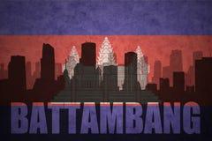 Silhouette abstraite de la ville avec le texte Battambang au drapeau de Cambodgien de vintage Photo stock