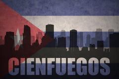 Silhouette abstraite de la ville avec le texte Cienfuegos au drapeau de Cubain de vintage illustration stock