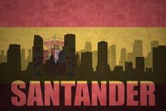 Silhouette abstraite de la ville avec le texte Santander au drapeau d'Espagnol de vintage Photographie stock libre de droits