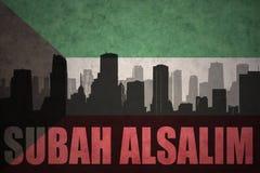 silhouette abstraite de la ville avec le texte Subah Alsalim au drapeau du Kowéit de vintage illustration de vecteur