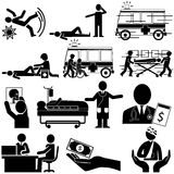 Silhouette of accident and insurance service Stock Image