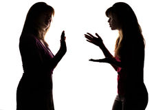 Silhouette adolescent begs the parent to allow something, but gets refused. Silhouette on white isolated background mother and daughter dialog, adolescent stock photos