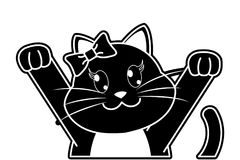 Silhouette adorable female cat with hands up. Vector illustration Stock Image