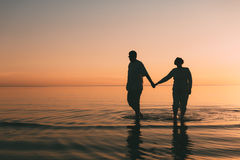 Silhouette of adult couple standing in the sea against a sunset. Evening photo Stock Photography