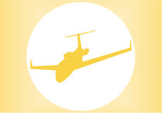 Silhouette of a aeroplane. At sunset, vector, illustration Royalty Free Stock Photo