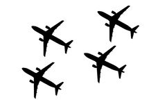 Silhouette of Aeroplane Stock Images