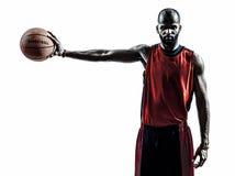 Silhouette africaine de joueur de basket d'homme Photo stock
