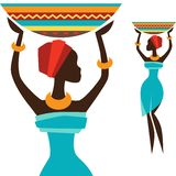Silhouette of african girl which carries basket Stock Photo