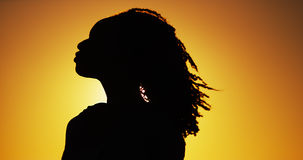 Silhouette of African woman standing at sunset Stock Photo