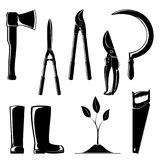 Set of Agricultural Tools. Silhouette of Agricultural Tools ,Set of Garden and Landscaping Tools , Pruning Shear with Loppers , Sickle with Working Rubber Boots Royalty Free Stock Photo