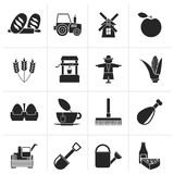 Silhouette Agriculture and farming icons. Vector icon set Stock Image