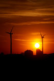 Silhouette of agriculture and wind farm Royalty Free Stock Image