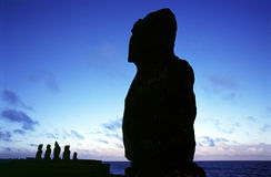 Silhouette of Ahu Tahai and Vai Uri Royalty Free Stock Images