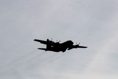 Silhouette of Air Force Cargo Airplane Stock Image