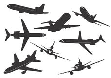 Silhouette of aircraft Royalty Free Stock Images