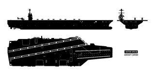 Silhouette of aircraft carrier. Military ship. Top, front and side view. Battleship model. Warship in flat style. Silhouette of aircraft carrier. Military ship Stock Image