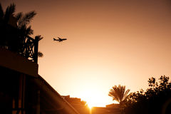 Silhouette airplane above tropical resort in Egypt Stock Images