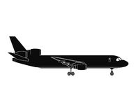 Silhouette airplane airport transport passenger business Stock Images