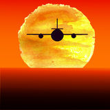 Silhouette of an airplane flying at watercolor Royalty Free Stock Image