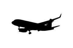 Silhouette airplane isolated Royalty Free Stock Images