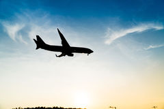 Silhouette airplane Stock Photos