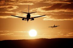 Silhouette of Airplanes Royalty Free Stock Photography