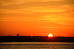 Silhouette of airport at sunset Royalty Free Stock Image