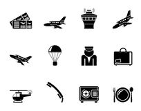 Silhouette Airport and travel icons Stock Image
