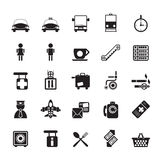 Silhouette Airport, travel and transportation icons royalty free illustration