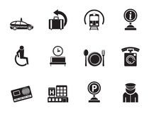 Silhouette airport, travel and transportation icons 2 Stock Images