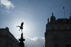Silhouette of Alfred Gilbert's statue of Eros Stock Images