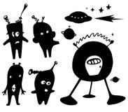 Silhouette of alien. Vector Silhouette of cartoon alien Royalty Free Stock Photo