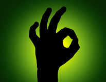 Silhouette All Fine Hand on Green Stock Photo