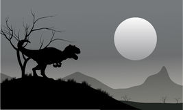 Silhouette of allosaurus with moon Stock Photo