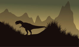 Silhouette of allosaurus in park. At the afternoon Royalty Free Stock Photo