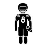 Silhouette american football player with helmet and ball. Vector illustration eps 10 Royalty Free Stock Image