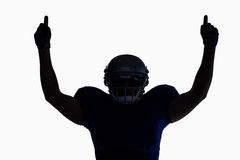 Silhouette American football player with thumbs up Stock Photos