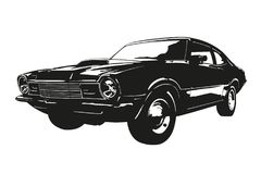 American muscle car from the 1970s vector illsutration. Silhouette of american muscle car, early 1970s, Vector illustration stock illustration