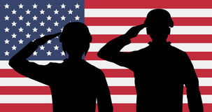 Silhouette american soldiers salute on usa flag. A silhouette american soldiers salute on usa flag Stock Photos