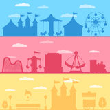 Silhouette amusement park. Colorful set silhouette of carnival funfair and amusement park. Vector background illustration for web design banner and print Royalty Free Stock Photo